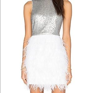 Lucy Paris| Sequin dress with feathers| Size S